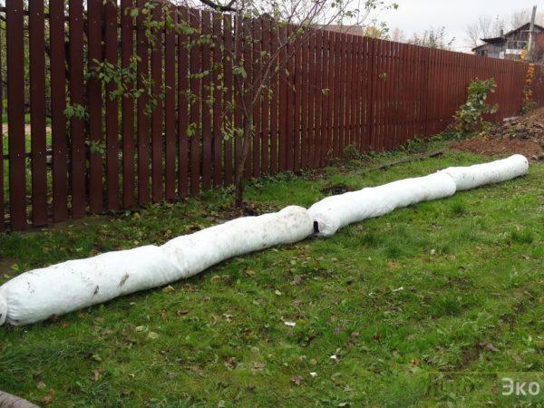 Монтаж Дренажной системы (без щебня) и ливневой канализации