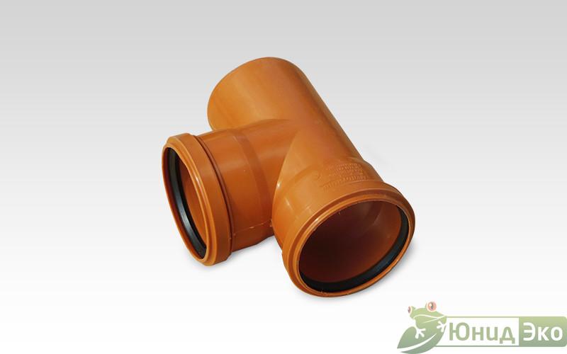 Тройник пластик 110х110х90 оранжевый Пластфитинг